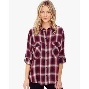 NWOT Sanctuary Boyfriend Shirt Cabernet Flannel M